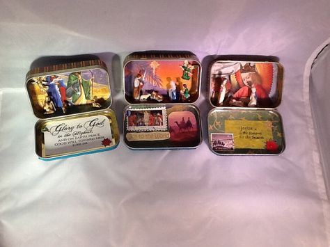 Miniature Nativity in an Altoid tin with Vintage figurines.
