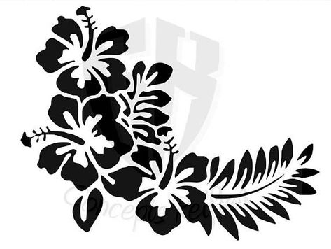 Hibiscus Flower With Leaves Stencil  Multiple Sizes Available