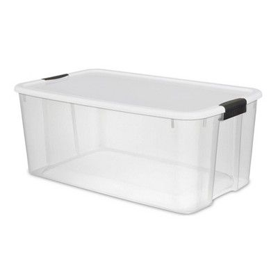 Sterilite Large 116 Qt Clear Ultra Latch Storage Container Box Tote 4 Pack Storage Containers Lid Storage Storing Blankets