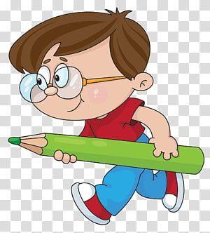 Boy Holding Pencil Education Child Kids Cartoon Transparent Background Png Clipart School Illustration Cartoon Kids Childrens Drawings