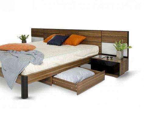 Walnut Queen Bed W Nightstands Storage Lights Modern Vig Modrest