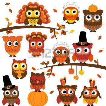buhos en ramas: Acción de Gracias y temáticas Colección Búho del otoño con las Ramas Vectores