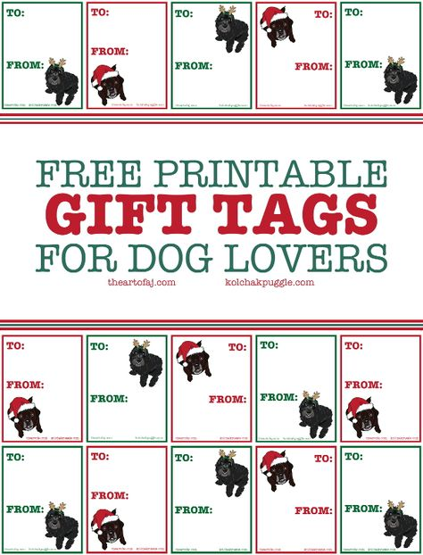 Free Printable Dog Lover Gift Tags | http://kolchakpuggle.com/2014/12/printable-koly-fe-gift-tags.html