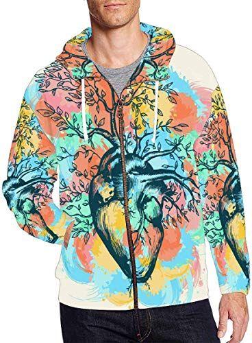 INTERESTPRINT Mens Full Zip Hooded Pullover Sweatshirt Dollars