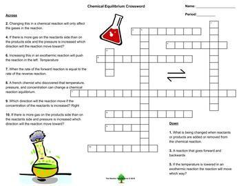 Equilibrium Le Chatelier S Crossword Puzzle Crossword Puzzle Crossword Chemistry Lessons