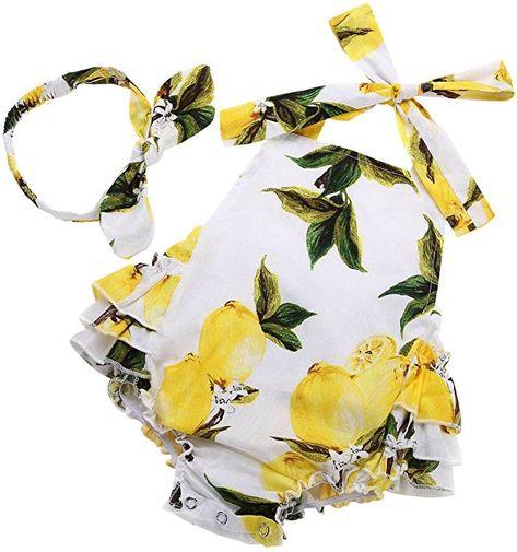 Baby Gir Lemon Sleeveless Princess Gallus Vocation Dress Boomboom Baby Girls Summer Dress
