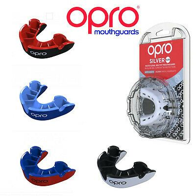 Red//Pearl Adult//Junior Opro Mouth Guard Gold Gen 4 Gum Shield