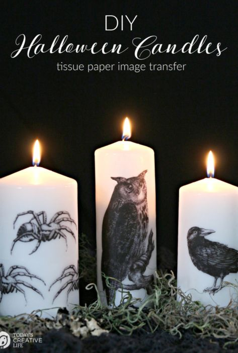 Halloween Tissue Paper Image Transfer Candles