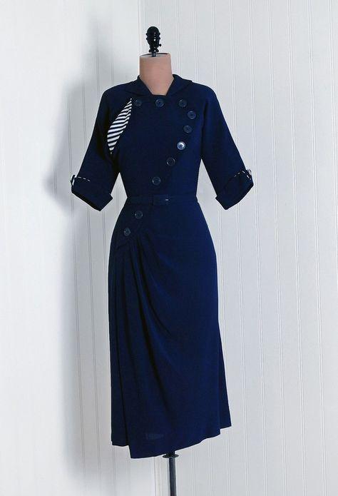 1940s Vintage Nautical Dress