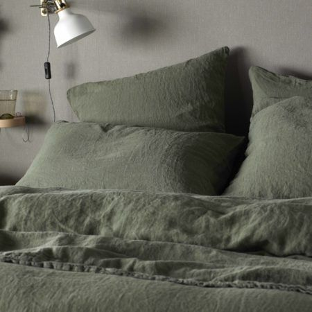 Olive Green 100% Linen Pillowcase in