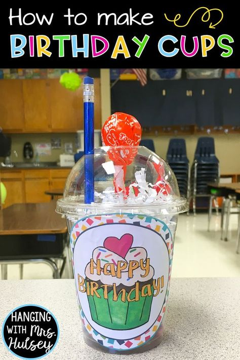 Looking for easy, cheap student birthday gifts or ideas? Try these directions to… Looking for easy, cheap student birthday gifts or ideas? Try these directions to prepping birthday cups! Fun, affordable, and a special way to celebrate with your kids! 3rd Grade Classroom, Kindergarten Classroom, School Classroom, Classroom Ideas, Future Classroom, Kindergarten Graduation, Holiday Classrooms, Kindergarten Gifts, Preschool Bulletin