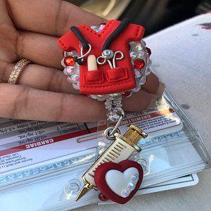 Retractable Reel ID Badge Reel Badge Buddy ID Badge Clip Badge Lanyard Bling Badge Reel Pink or Red Heart; Retractable Badge Holder Nurse