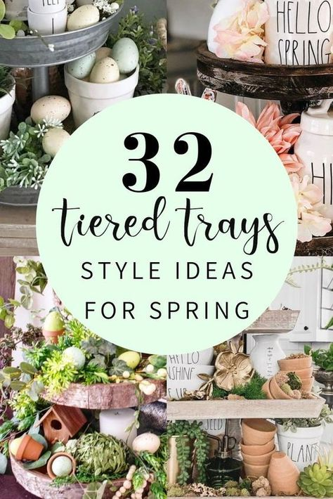 32 beautiful ways to style tiered trays for spring easter and st. patricks day.  Inspiring decor ideas for the trays including Rae Dunn #raedunn #tieredtrays #springdecor