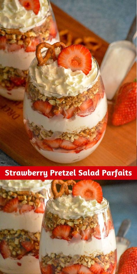dessert, Strawberry Pretzel Salad Parfaits put a creamy new spin on strawberry pretzel salad. Featuring layers of flavor infused freshly whipped cream, buttery cinnamon pretzels, and ripe berries- it's a dessert destined to impress. Strawberry Pretzel Salad, Strawberry Recipes, Strawberry Parfait, Frozen Strawberry Desserts, Tiramisu Dessert, Dessert Aux Fruits, Snacks Saludables, Cookies Et Biscuits, Easy Desserts