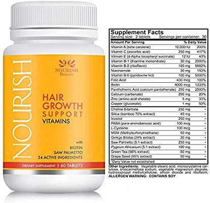 Amazon Com Nourish Beaute Hair Growth Vitamins For Hair Loss And Thinning That Promo Vitamins For Hair Loss Vitamins For Hair Growth Supplements For Hair Loss