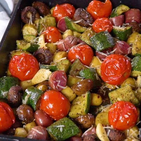 All-star recipe for Italian Oven Roasted Vegetables! Simple to prepare and packed with flavor. A few helpful tips make all the difference. GF. Video included