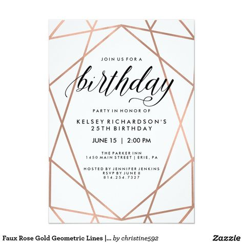 Rose gold typography feathers marble 21st Birthday Card 21st - birthday party invitation informal letter