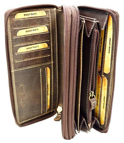Große Echt Leder Damen Geldbörse Portemonnaie für Frauen viel Stauraum