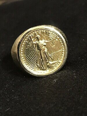 1 10oz Lady Liberty Gold Coin 14k Band Ring Size 10 5 Ring Weight 11 71 Grams In 2020 Size 10 Rings 14k Band Gold Coins