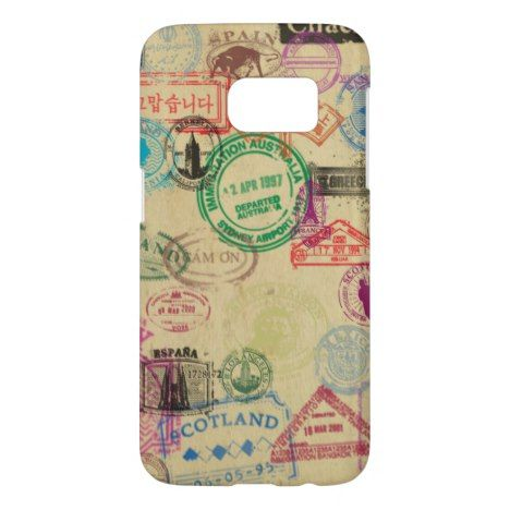 Vintage Passport Stamps Samsung Galaxy S7 Case - Talk in style. #phonecases #phonecase #giftforher #giftforhim #iphone #iphones