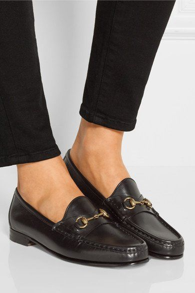 850dc0928 GUCCI women's Horsebit-detailed black leather loafers - Humble & Rich  Boutique