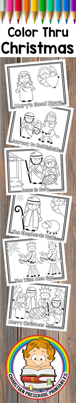 Free Early Reader Color Through the Christmas Story.  Nativity Story Coloring Pages