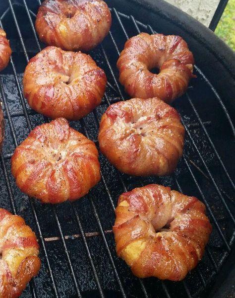 Bacon Wrapped Donuts – Doinks   Recipe   Bacon wrapped, Bacon, Bacon recipes