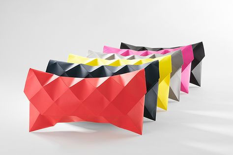 say hello to paperlux's 'petit fou' geodesic paper clutches, whose innovative folding technique transcends conventions in form and paper variety.