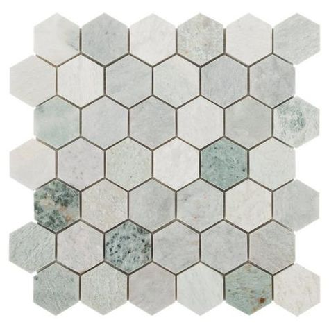 Caribbean Green Hexagon Tumbled Marble Mosaic Marble Mosaic Floor Marble Mosaic Hexagon