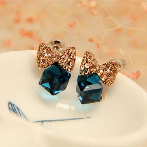 Cool! Bling Diamond Bow Crystal Cube Silver Needle Sweet Earrings Studs just $16.99 from ByGoods.com! I can't wait to get it!
