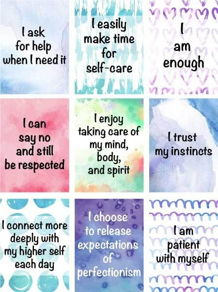 Free Self Care Ideas For Overwhelmed Moms Plus Free Printable Affirmation Cards The Artisan Life Positive Affirmation Cards Affirmations Printable Life Quotes