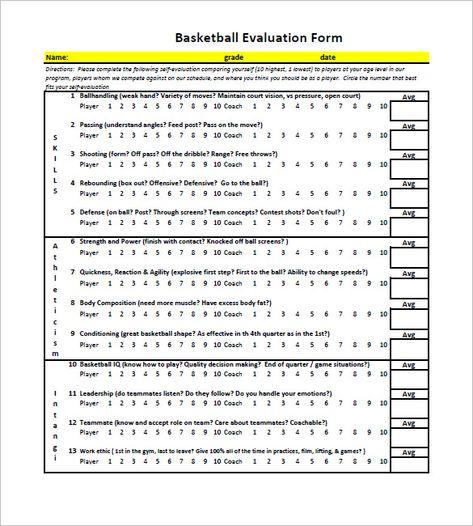 Free Basketball Evaluation Forms  Free  Premium Templates