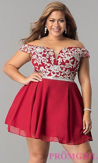 Off-the-Shoulder Plus-Size Short Homecoming Dress | dresses ...