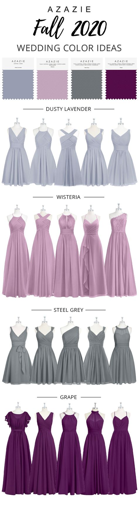 The colors of these bridesmaid dresses are wisteria, grape and steel grey. Get your wedding color ideas at Azazie.com with our 600+ styles in 80+ color options. #azazie #azaziebridesmaiddresses #wedding #weddingcolors #weddingcolorideas #bridesmaiddresses #bridesmaiddress #bridesmaid #bridesmaids #maidofhonor #chiffonbridesmaiddress #bridesmaiddresseslong #lacebridesmaiddresses #fallwedding #fallweddingideas #fallweddingcolors #winterwedding #winterweddingideas #winterweddinginspiration
