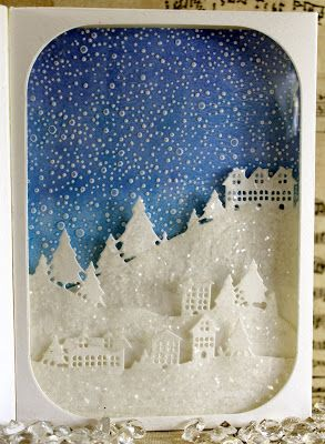 John Next Door Christmas Dies.John Next Door Scene Box Tutorial Xmas Card Xmas