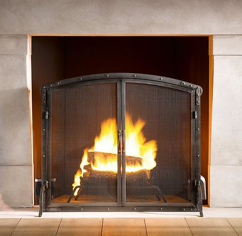 Rivet Hearth Arched Screen With Doors And Tools Hearth Flat