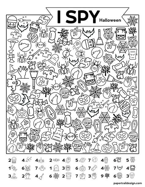 Free Printable I Spy Halloween Activity - Paper Trail Design Free Printable I Spy Halloween Activity. Print this fun Halloween I spy game for a classroom party game or church harvest party. Halloween Worksheets, Halloween Activities, Holiday Activities, Classroom Activities, Activities For Kids, Therapy Activities, Free Halloween Printables, Halloween Puzzles, Group Activities