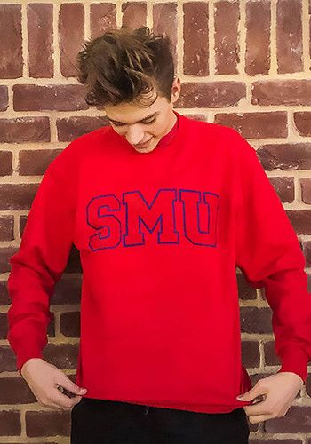 4847eb25d Champion SMU Mustangs Mens Red Arch Long Sleeve Crew Sweatshirt, Red ...