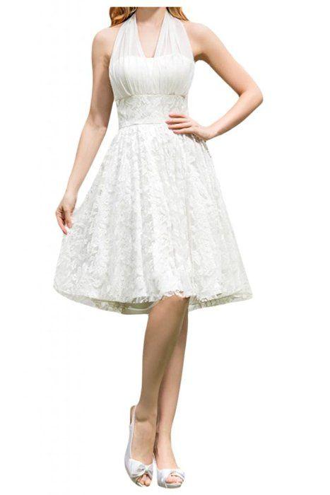 Milano Bride Damen Neckholder Spitze Hochzeitskleid Brautkleider A-Linie Kurz Brautjungfern Kleider-32-Weiss