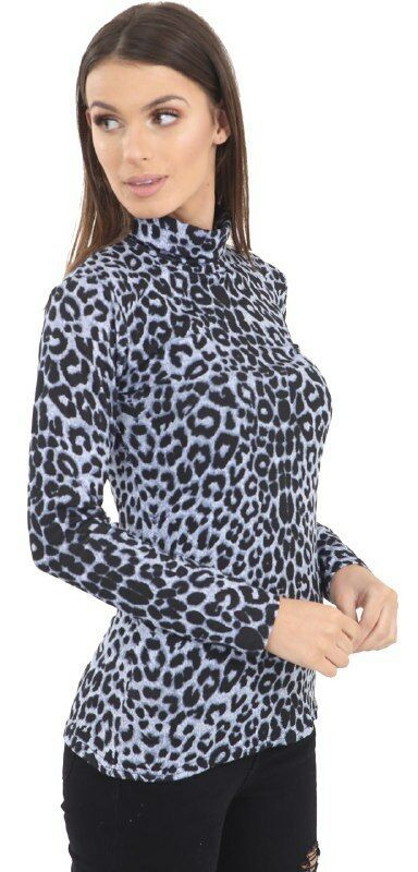 Womens Ladies Leopard Snake Print Long Sleeve Turtle Polo Neck Shirt Top UK 8-26