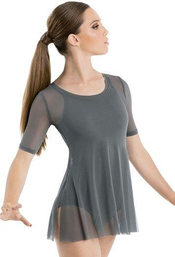 Short Sleeve Tunic Mesh Overdress Balera Lyrical Dresses Short Sleeve Tunic Dance Wear
