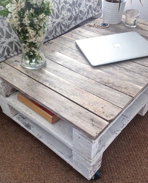 Pallet Coffee Table ESMA in Farmhouse Style with