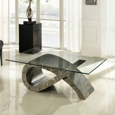 Table Basse En Verre Et Pierre Fossile Design Coffee Table Table