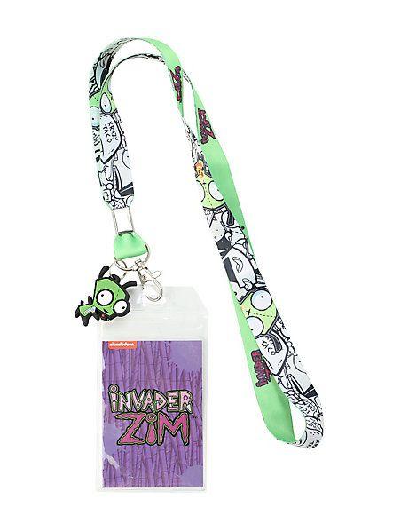 Invader Zim Cartoon Characters ID Holder Lanyard Keychain