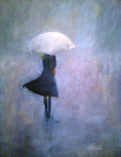 oil painting of girl walking in a gray mist/rain by KatBushArt, $400.00