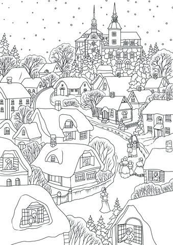 Printable Christmas Village Snowy Village On Eve Coloring Page Free Printable Christmas Villag Free Printable Coloring Pages Coloring Pages Free Coloring Pages