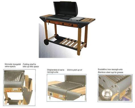 BARBECUE A GAS GPL MOD. GIOVE DA ESTERNO  Art. FRB - 81     Dimensioni barbecue: 156X57X133h cm.  Dimensioni griglia: 40X36 cm.  Dimensioni piastra ghisa: 26X40  Dimensioni pietra ollare: 26X40  Alimentazione: Gas  Peso: 47.5 Kg  Bruciatori: in acciaio inox  Potenza: 1 fuoco da 11.6 kW + 1 fuoco da 12.3 kW  Carrellabile: SI  Vassoi: Si 2 in legno  Particolarità: dotata di scodellino raccogligrasso  Accensione: piezoelettrica  Particolarità: griglia in acciaio + piastra in ghisa + pietra…