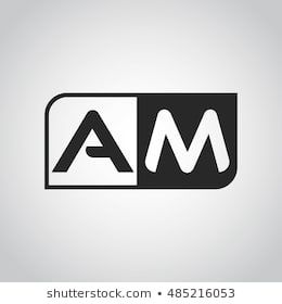 Logo Letter Am With Two Different Sides Negative Or Black And