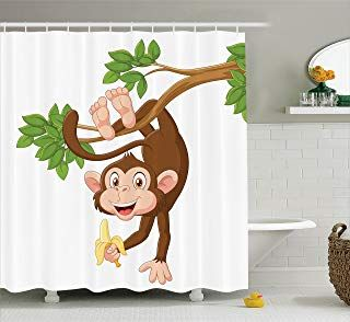 Shower Curtain Set Jungle Playing Cute Monkey Waterproof Fabric Bathroom Hooks