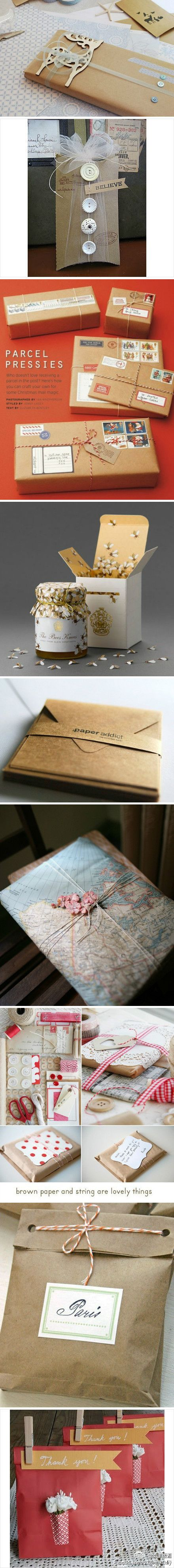 Gift and package wrapping ideas. Love these. (picture inspiration only)